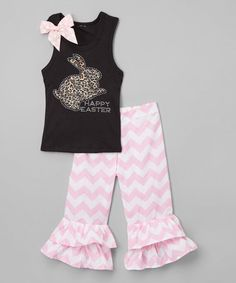 Black Leopard Bunny Tank & Pink Ruffle Pants - Toddler & Girls #zulily #zulilyfinds
