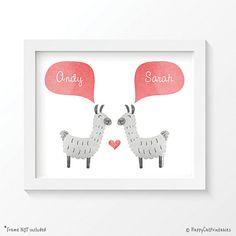LLAMA ALPACA Couple Personalized Art Print by HappyCatPrintables