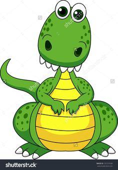 Cute Green Dinosaur Cartoon Stock Vector Illustratie 131219168 : Shutterstock