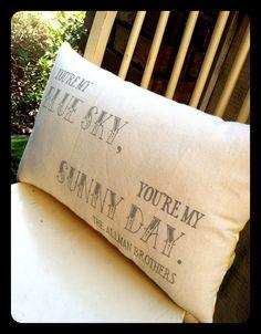The Allman Brothers, Blue Sky- Double sided lyric pillow. $43.00, via Etsy.