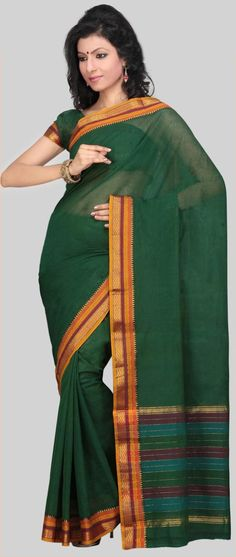Green Narayanpet Handloom Cotton Saree With Blouse