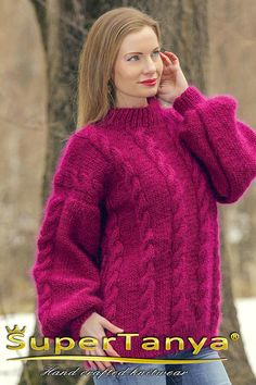 Purple mohair sweater cable knit handcrafted jumper by