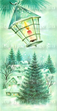 Vintage Greeting Card Christmas Lantern by RedGypsyVintageArts