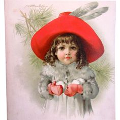 MAUD HUMPHREY 1889 Lithograph Young Girl with Snowballs - Frederick A. Stokes & Brother