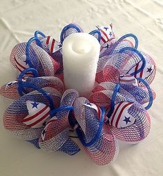 Mesh Table Centerpiece Candle Holder Red White Blue with Ribbons and Tubing Deco Mesh Centerpiece Table Decor Patriotic Wreath, Patriotic Crafts, July Crafts, 4th Of July Wreath, Holiday Crafts, Wreath Crafts, Diy Wreath, Wreath Ideas, 4th Of July Decorations