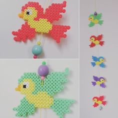Bird mobile hama beads by homemade_by_lund Vogel Mobile Hama Perlen vonemade_by_lund Bead Crafts, Diy And Crafts, Crafts For Kids, Melty Bead Patterns, Beading Patterns, Fuse Beads, Pearler Beads, Pony Bead Projects, V Instagram
