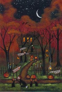 """Halloween Hats For The Three Sisters Cats!"" original folk art painting by Deborah Gregg #halloween"
