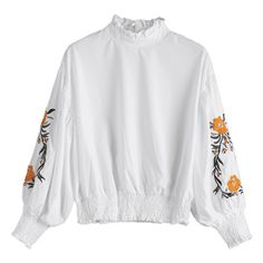 Floral Patched Lantern Sleeve Ruffled Blouse ($22) ❤ liked on Polyvore featuring tops, blouses, white top, floral print blouse, ruffle top, floral print tops and white ruffle top