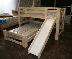 """Custom """"L"""" Bunk Bed with Slide"""