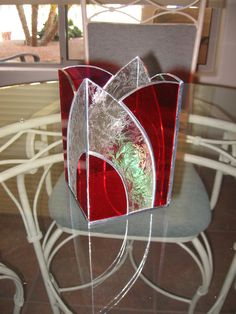 Stained glass candle holder by LookingGlassArizona on Etsy Stained Glass Light, Stained Glass Ornaments, Making Stained Glass, Stained Glass Christmas, Stained Glass Designs, Stained Glass Panels, Stained Glass Projects, Stained Glass Patterns, Leaded Glass