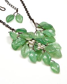 Green Beaded Necklace Green Leaf Necklace by CherylParrottJewelry, $71.95  Christmas gift for you or a special someone.  Perfect for the winter and all year long.