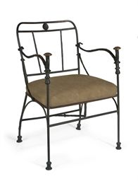Diego Giacometti (1902-1985)  Fauteuil aux pommeaux de canne  bronze with gold, brown and black patina and suede seat  Height: 31 in. (78.7 cm.)  Conceived circa 1963