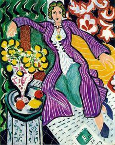 Woman in a Purple Coat: 1937 - Matisse. Fauvismo. Pinturas selvagens. Arte nas camadas mais profundas da sensibilidade humana.