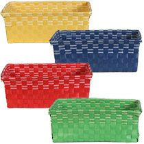 yellow for bread and rolls, could reuse in nursery ;-) Bulk Rectangular Colorful Woven Vinyl Baskets with White Accents at DollarTree.com