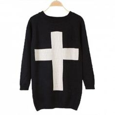 $10.18 Retro Loose-Fitting Scoop Neck Cross Pattern Solid Color Long Sleeves Cotton Blend Sweater For Women