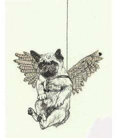 Flying Pug Illustration -- Art Giclee Print Ink, Newspaper / Magazine & Tea. £15.00, via Etsy.