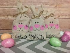 Personalized Easter Treat Bags, Easter Classroom Gift, Easter Favor Bags, Easter Basket Filler, Cust gifts for classroom Your place to buy and sell all things handmade Easter Treats, Easter Gift, Hoppy Easter, Treat Bags, Favor Bags, Daycare Gifts, Preschool Gifts, Easter Fabric, Easter Bunny Decorations