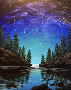Check out Midnight Falls at Good Life (Financial District) - Yaymaker Cute Canvas Paintings, Scenery Paintings, Nature Paintings, Beautiful Paintings, Beautiful Landscapes, Landscape Paintings, Canvas Art, Image Nature, Beautiful Nature Wallpaper