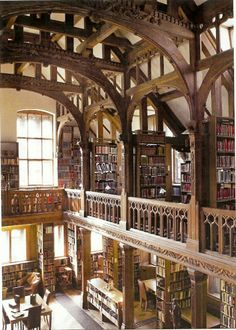 Cool Bookish Places: Gladstone's Library In British Prime Minister William Gladstone got out a wheelbarrow and began moving his personal collection of books from Hawarden Castle in Wales to their new home about a quarter of a mi Beautiful Library, Dream Library, Library In Home, Grand Library, Library Cafe, Future Library, City Library, Home Libraries, Public Libraries