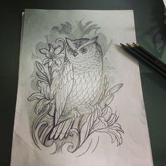 Owl tattoo sketch draw