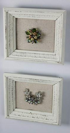 DIY frame grandma's brooch on a piece of linen.