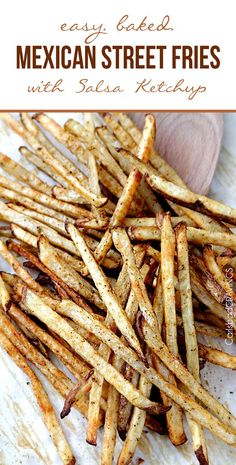 Our TSTE® Sriracha Sea Salt is the best on these fries! Easy baked Mexican Street Fries bursting with fiesta spices for a healthy snack, side or appetizer that no one will be able to stop munching! Potato Dishes, Food Dishes, Mexican Dishes, Mexican Food Recipes, Mexican Fries, Mexican Appetizers Easy, Mexican Snacks, Mexican Salsa, Great Recipes