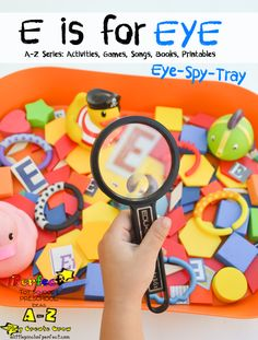 Letter of the Week A-Z series: E is for Eye- make a fun Eye-spy-tray to improve visual perception and the letter E recognition-so simple it's great!