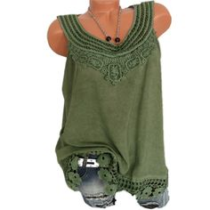 ac3757a2350f S-5XL Women Sleeveless Lace Baggy Summer Casual Vest Tank Top Blouse Plus  Size