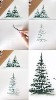 mini-watercolor-tutorial-of-willow-leaves-with-step-by-step-process-photos-tutorial-art-artist-painting-paintingtutorial-paintingtips-artwork/ SULTANGAZI SEARCH Pine Tree Painting, Christmas Tree Painting, Christmas Art, Christmas Ideas, Christmas Activities, Painted Christmas Tree, Tree Paintings, Winter Painting, Christmas Design