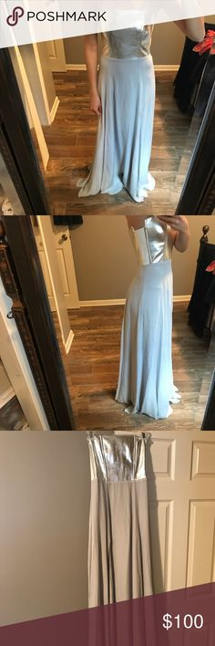 Silver floor-length gown Mason silver floor-length gown with metallic bodice Mason Dresses Strapless