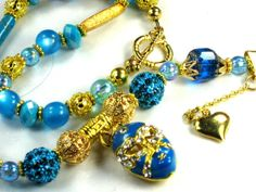 New Orleans Madi Gras Necklace Turquoise and 14kt Gold by Chris of  PurseCharming7 on Etsy, $42.00