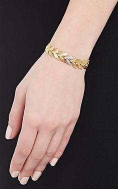 Cathy Waterman White Diamond & Yellow Gold Wheat-Link Bracelet - Bracelets - 504530587