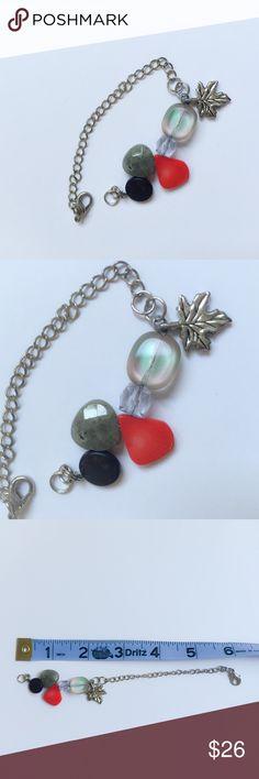 Autumn Leaf + Stone Bracelet Autumn Leaf + Stone Bracelet. Handmade from natural polished stone & vintage glass. Resizing available on request. phantomk Jewelry Bracelets