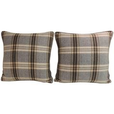 Pair of Vintage Tartan Woven Wool Decorative Pillows | From a unique collection of antique and modern textiles at https://www.1stdibs.com/furniture/more-furniture-collectibles/textiles/