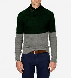 Lewis Alpaca Wool Blend Sweater by Johnny Love $195 | Johnny Love are renowned for their spot on interpretation of the most noteworthy trends. They have colour blocking covered with this streamlined sweater. The piece is replete with a shawl collar and leather buckle- adding polishand prep. Embrace the trend fully by teaming with solid chinos in a completely different hue. | GOTSTYLE.ca