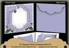 Blue Poinsettia Christmas 7x7inch Easy Envelope Mini Kit on Craftsuprint - Add To Basket!
