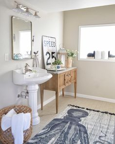Cozy Bathroom, Coastal Bathrooms, Bathroom Renos, Bathroom Ideas, Coastal Style, Coastal Decor, Octopus Rug, Worldly Gray, Pedestal Sink
