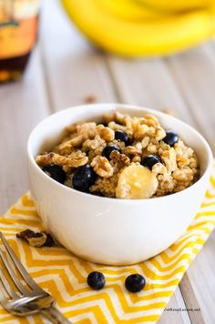 Quinoa, Blueberries, bananas and nuts for breakfast