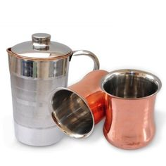Drinkware Accessories Copper Pitcher Jug & 2 Glass Set Handmade Indian Tableware