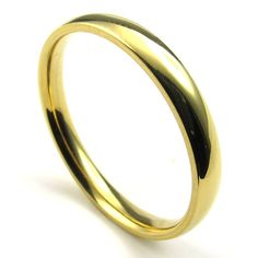 TEMEGO Jewelry Mens Stainless Steel Ring, 3mm Classic Round Polished Finish Band, Golden * Continue to the product at the image link.