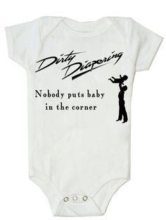 Funny Baby Onesie in Pink Baby  Onesie Bodysuit Nobody Puts Baby in the Corner Dirty Dancing. $14.99, via Etsy.