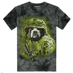 Mens Casual Funny 3D Printing Soldiers Dog With Gun Short-sleeve T-shirt