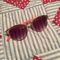 American Eagle sunglasses Worn once, no scratches, rims are a rose gold and the lens fade from a dark to a light pink on the bottom, very light material so you'll hardly notice you're wearing them American Eagle Outfitters Accessories Sunglasses