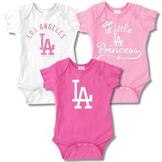 Los Angeles Dodgers 3 Pack Girls Little Princess Creeper Set by Soft as a  Grape Yankees 33c8bf70bd1