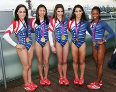 United States Team, 2012 Olympic Games (London, UK)    Left-to-right: Jordyn Weiber, Kyla Ross, McKayla Maroney, Aly Raisman, Gabby Douglas Love their tennis.shoes and leos<3
