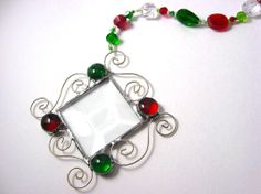 SALE+Handmade+Red+&+Green+Beaded+Christmas+by+FoxysCrystals,+$10.00