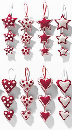 3 hanging felt stars/hearts in patchwork Sewn Christmas Ornaments, Christmas Hearts, Handmade Christmas Decorations, Felt Decorations, Christmas Sewing, Felt Ornaments, Christmas Diy, Valentine Day Crafts, Felt Crafts