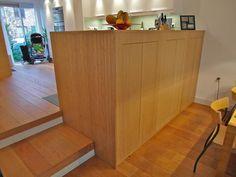 Kasten wand / roomdivider met bamboe fineer