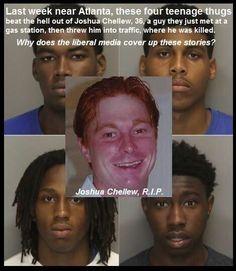 Por que esto no ha sido noticia en los medios....ah si, el muerto es blanco y se lo merece por racista....maldita basura antiblanca