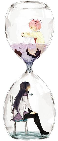 Puella Magi Madoka Magica Madoka and Homura in an Hourglass pmmm Manga Anime, Manga Girl, Anime Girls, Read Anime, Madoka Magica, Anime Love, Vocaloid, Anime Plus, Otaku